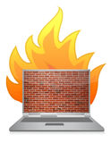 Laptop firewall. Illustration design concept over white Stock Photos