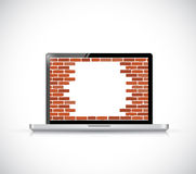 Laptop firewall broken concept illustration. Unsecured computer design Stock Photos