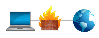 Laptop firewall protection. Illustration design over a white background Royalty Free Stock Photography