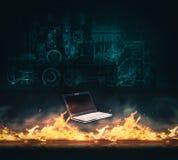 Laptop firewall protection stock photo