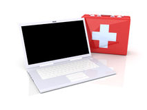 Laptop First aid. 3D Illustration. Isolated on white Royalty Free Stock Photography