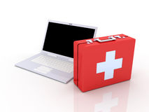 Laptop First aid. 3D Illustration. Isolated on white Stock Photos