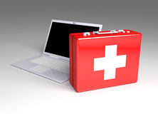 Laptop First aid. 3D Illustration. Isolated on white. Laptop First aid Royalty Free Stock Image