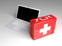 Laptop First aid. 3D Illustration. Isolated on white. Laptop First aid Royalty Free Stock Photos