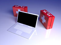 Laptop First aid. 3D rendered Illustration. Laptop First aid Stock Photos