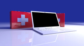 Laptop First aid. 3D rendered Illustration. Laptop First aid Stock Photography