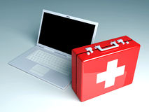 Laptop First aid. 3D Illustration. Isolated on white Royalty Free Stock Images