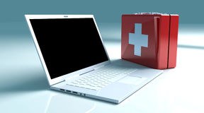 Laptop First aid. 3D Illustration. Isolated on white Royalty Free Stock Image