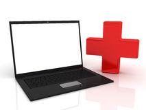 Laptop First aid. 3D render Royalty Free Stock Image