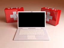 Laptop First aid. 3D rendered Illustration. Laptop First aid Royalty Free Stock Photography