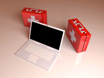 Laptop First aid. 3D rendered Illustration. Laptop First aid Royalty Free Stock Images