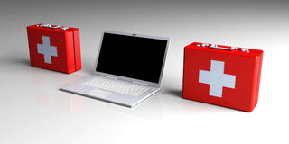 Laptop First aid. 3D Illustration. Laptop First aid Royalty Free Stock Photography