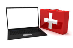 Laptop first aid. 3D render Royalty Free Stock Photography
