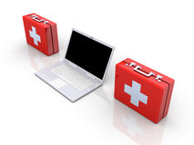 Laptop First aid. 3D Illustration. Isolated on white Stock Photo