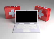 Laptop First aid. 3D rendered Illustration. Laptop First aid Royalty Free Stock Photo