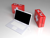 Laptop First aid. 3D rendered Illustration. Laptop First aid Stock Photo
