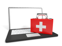 Laptop. First aid. Laptop and first aid on white background. Tech support. 3D illustration Stock Photos