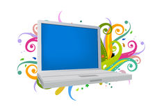 Laptop and floral. 2 Realistic grey laptop isolated on background. Vector illustration Royalty Free Stock Image