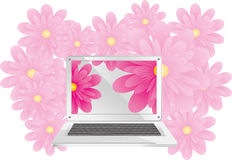 Laptop with flowers Stock Image