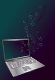 Laptop with flowing lines and square shapes. Colored spots, squares, laptop, blends and background are all on separate layers stock illustration