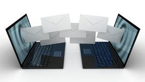 Laptop and fly envelopes Stock Photo