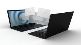Laptop and fly envelopes Royalty Free Stock Photo