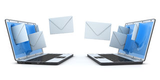 Laptop and fly envelopes Stock Photography