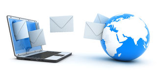 Laptop and fly envelopes Stock Image