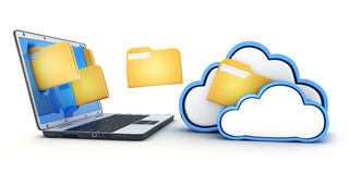 Laptop and fly files in cloud. 3d illustration Stock Photography