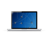 Laptop fly tracker concept illustration design Royalty Free Stock Photo