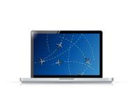 Laptop fly tracker concept illustration design Royalty Free Stock Photo