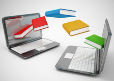 Laptop and flying books. 3d high quality rendering Stock Photos