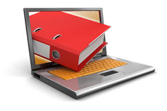 Laptop and Folder (clipping path included) Stock Images