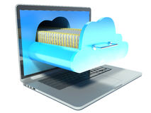 Laptop and folder. cloud technology Royalty Free Stock Photos