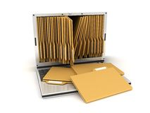 Laptop and folders. Laptop and folder, on white background Royalty Free Stock Photo