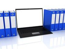 Laptop and folders Stock Photos