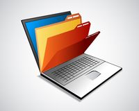 Laptop with folders Stock Photography