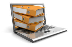 Laptop and Folders (clipping path included) Stock Photography