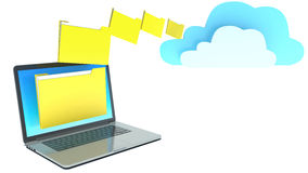 Laptop folders and cloud server, on white background.  Royalty Free Stock Photography
