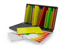 Laptop with folders. And sheets with infographics Royalty Free Stock Photos