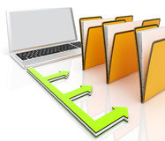 Laptop And Folders Shows Administration And Organized. Laptop And Folders Showing Administration And Organized Royalty Free Stock Image