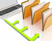 Laptop And Folders Shows Administration And Organized Royalty Free Stock Images