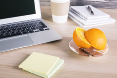 Laptop, food and stickers Royalty Free Stock Image