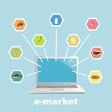 Laptop with foodstuff. Vector illustration Stock Photography