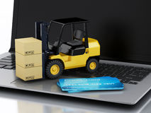 Laptop with Forklift truck. Delivering packages Stock Image