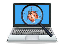 Laptop found computer bug Stock Photos