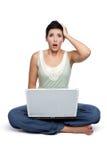 Laptop-Frau Stockfotos