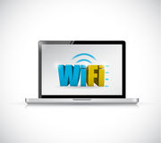 Laptop free wifi connection illustration design Stock Images