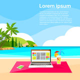 Laptop Freelance Beach Remote Working Place Summer. Vacation Holiday Tropical Ocean Island Flat Vector Illustration Royalty Free Stock Photos