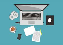 Laptop. And friends vector illustration for business tools Royalty Free Stock Photos